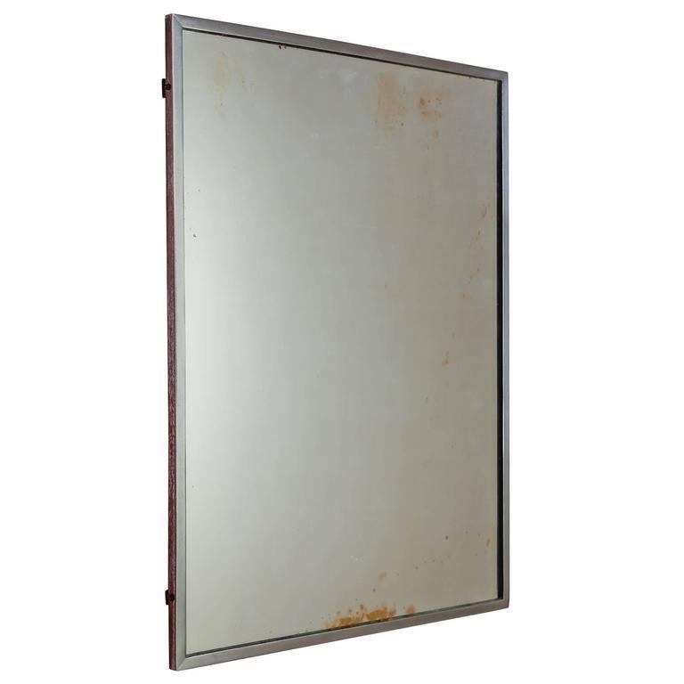 Rectangular Italian Nickel Mirror, Italy, 1950s