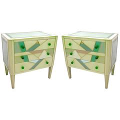 Italian Design Pair of Glass Abstract Decor Chests