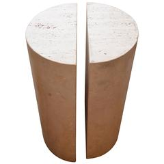 Belgium Travertine Pedestal End Table