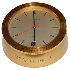 Solid Brass Tiffany International Desk Clock