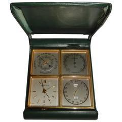 A Rare Art Deco Tiffany  Angelus MeteoTravel /Desk Clock.(Stolz Freres)