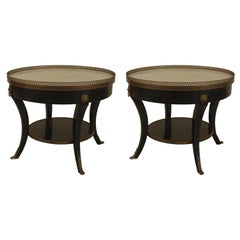 Pair of 1940s French Louis XVI Style Bronze-Trimmed End Tables, by Jansen