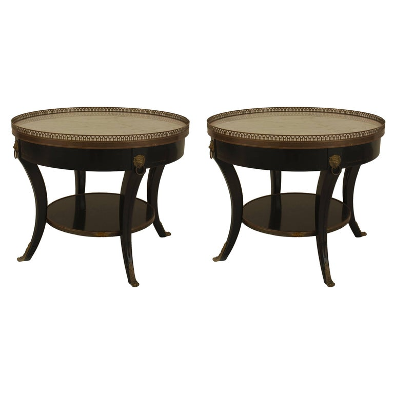 Pair of 1940s French Louis XVI Style Bronze-Trimmed End Tables, by Jansen For Sale