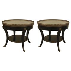 Pair of 1940s French Louis XVI Style Bronze-Trimmed End Tables by Jansen