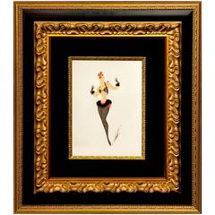 "One of a Kind Erté Original Painting ""Femme Au Collant Resille"""