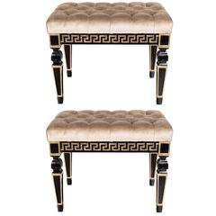 Stunning Pair of Mid-Century Modernist Greek Key Benches with Tufted Seats