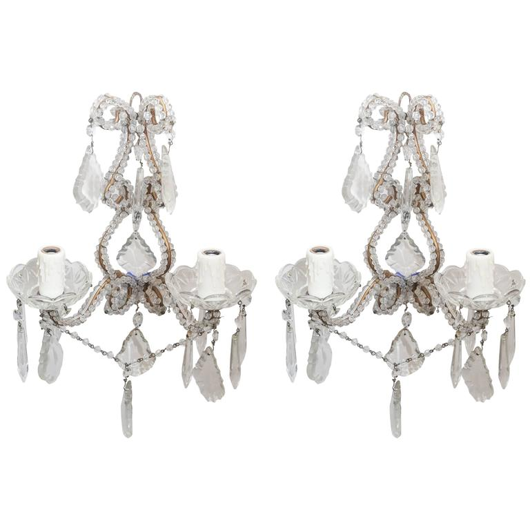 Italian 1940s-1960s Beaded Crystal Sconces For Sale at 1stdibs