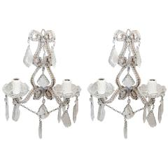 Italian 1940s-1960s Beaded Crystal Sconces