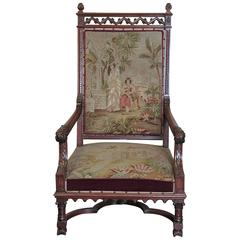 Large 19th Century Louis XIII Style Armchair with Tapestry Upholstery