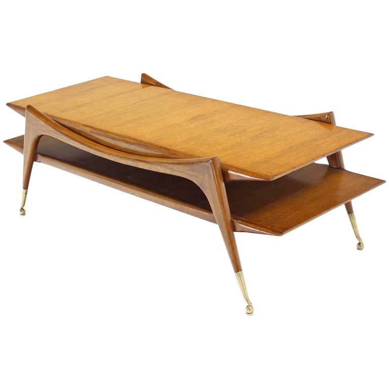 Sculptural Base Two Tier Mid Century Modern Coffee Table
