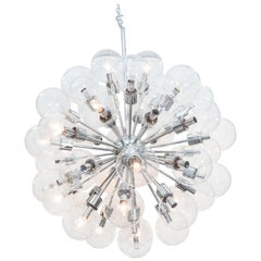 1960s Lightolier Sputnik Chandelier in Chrome with Glass Globes