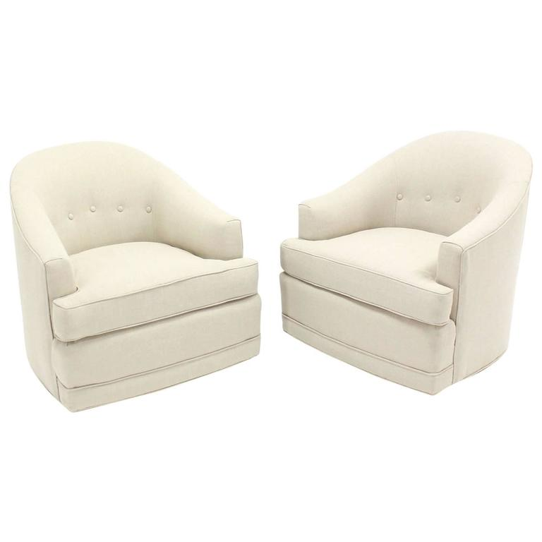 Pair Of Barrel Back Swivel Chairs For Sale