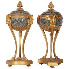Pair of 19th Century French Empire Gilt Bronze and Marble Urns or Cassolettes