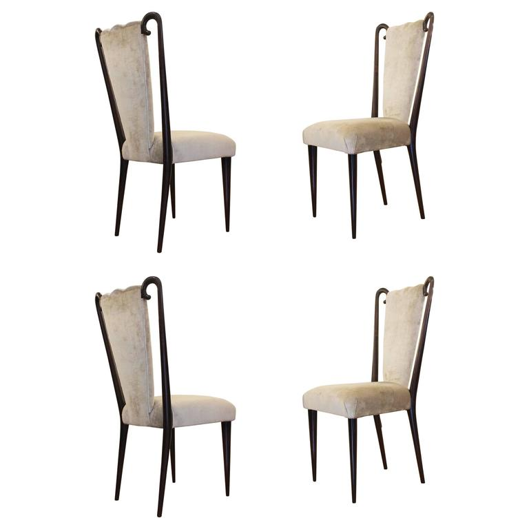 Set of Four Chairs Attributed to Paolo Buffa, Italy, 1950s