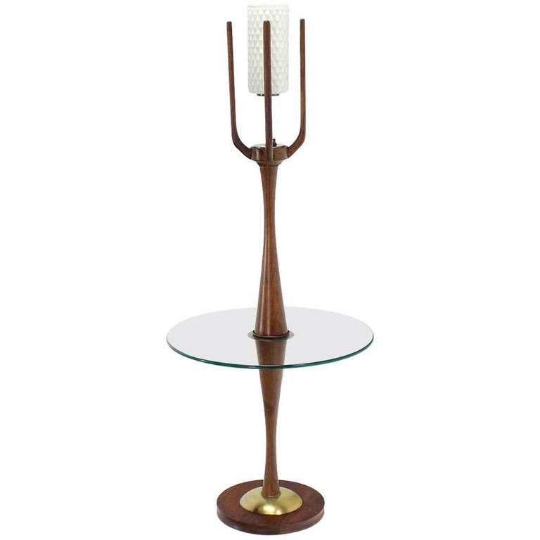 Sculptural Mid-Century Modern Floor Lamp with Built In Round Glass Side Table