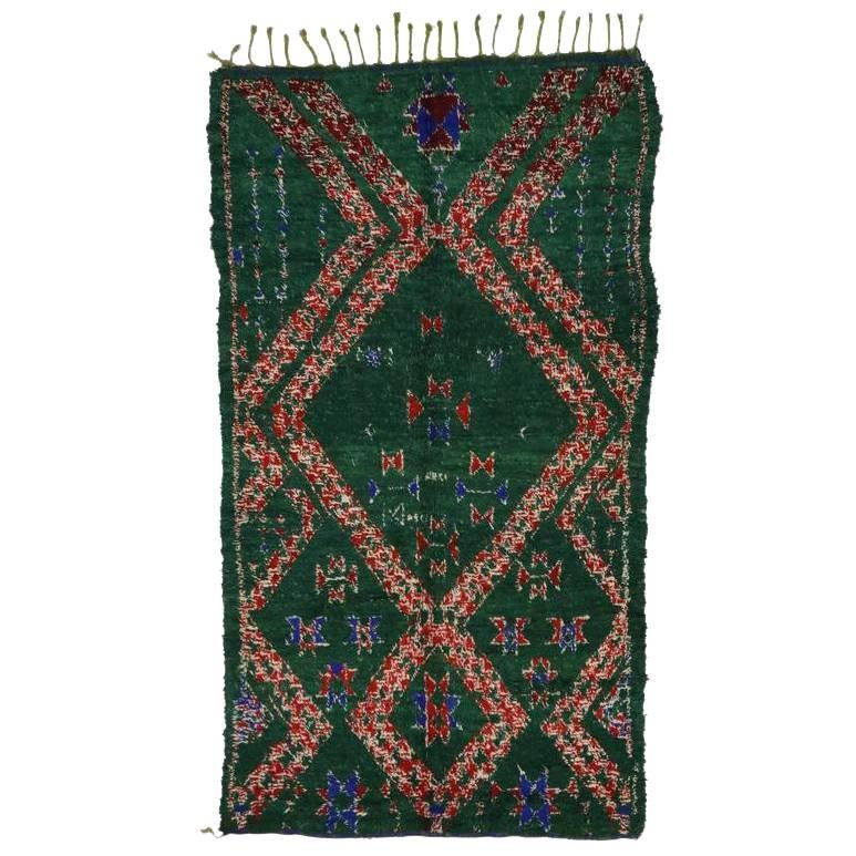 Vintage Berber Moroccan Rug with Tribal Style, Dark Green Beni Mguild Carpet