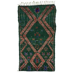 Vintage Berber Moroccan Rug with Tribal Style, Dark Green Beni Mguild Carpet