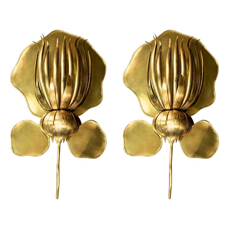 Large Flower Wall Sconces : Large Pair of 1970s