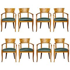 Eight Italian Modern Neoclassical Dining Armchairs in Beech and Olive Wood
