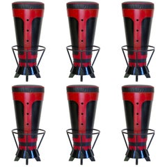 Set of Six Funky Bar Stools, France, circa 1950s