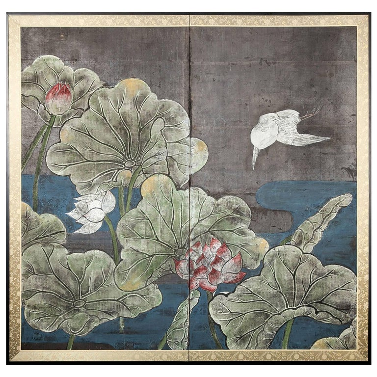 Japanese Two Panel Screen, Lotus and Heron For Sale