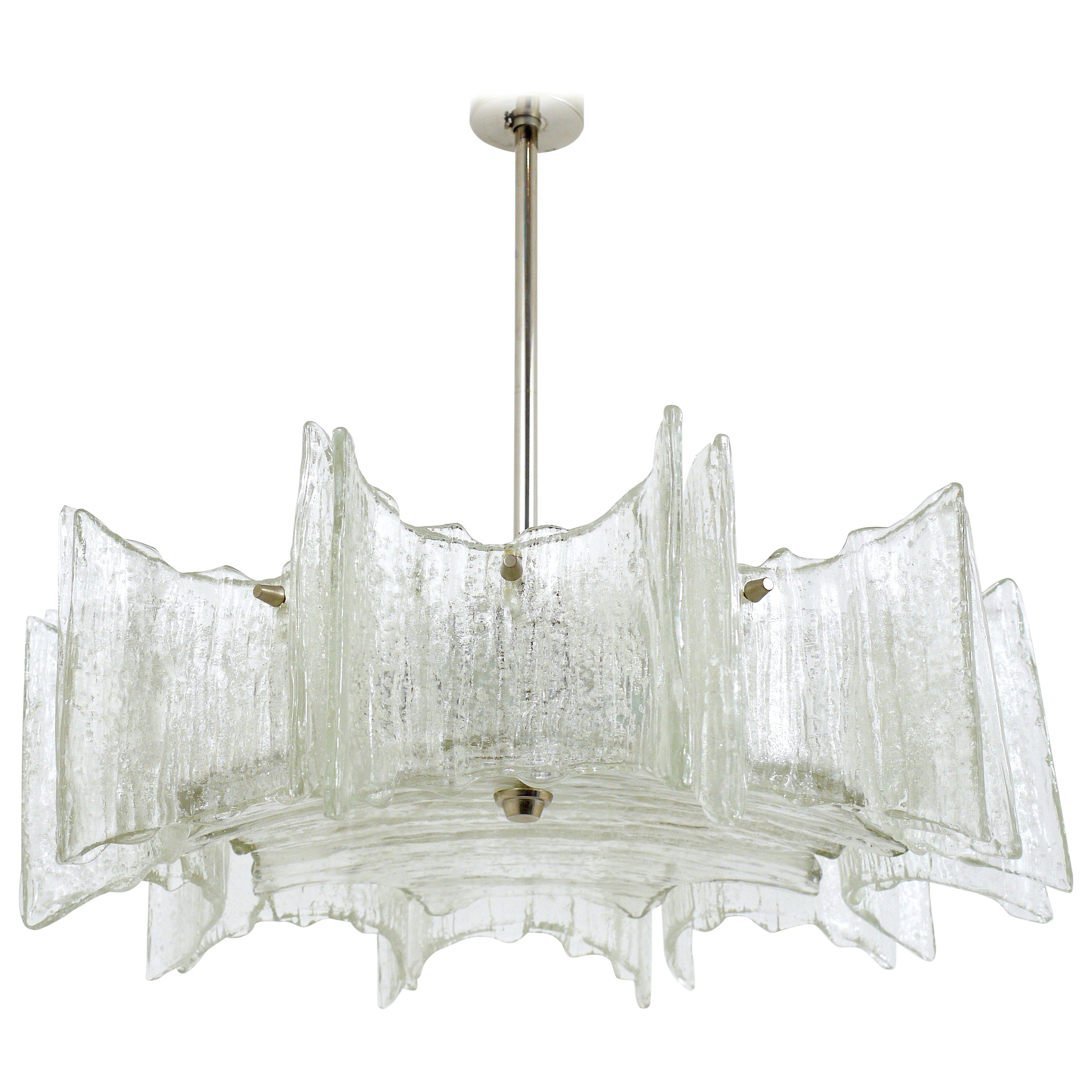 "Kalmar Frosted Glass Midcentury ""Star"" Chandelier, Austria, 1960s"