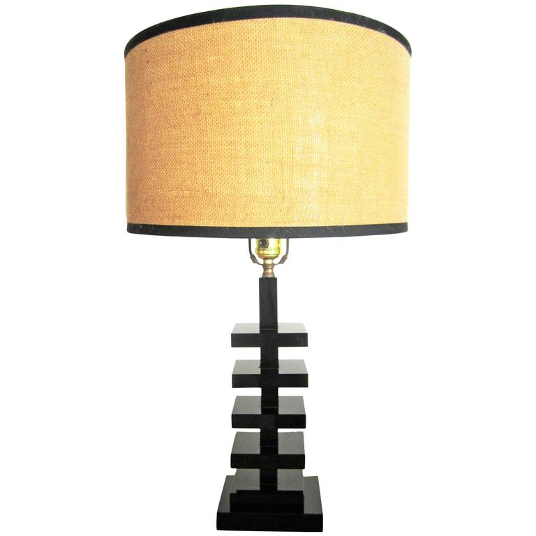 Modern art deco black glass table lamp for sale at 1stdibs modern art deco black glass table lamp for sale aloadofball