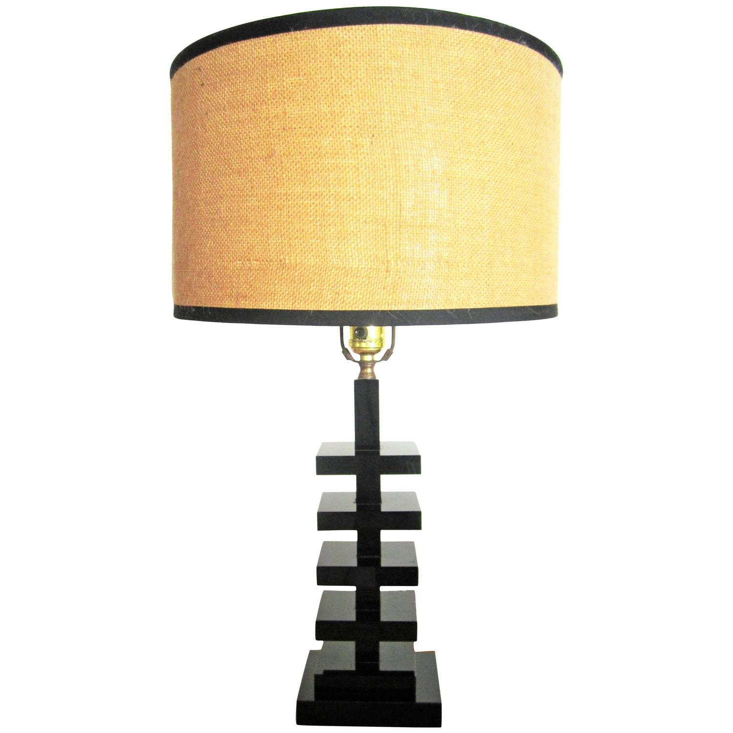 Art deco porcelain figural male female table lamps by lenox circa modern art deco black glass table lamp circa 1940s geotapseo Image collections