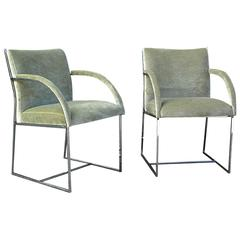 Milo Baughman Chrome Armchairs