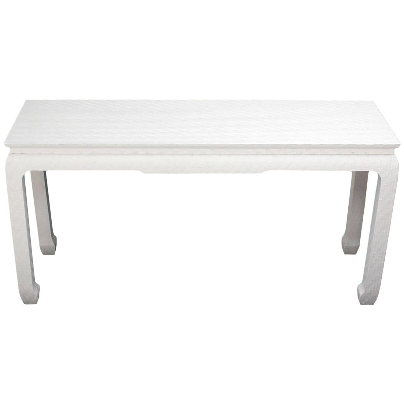 Grass Cloth White Lacquer Console Sofa Table By Baker For