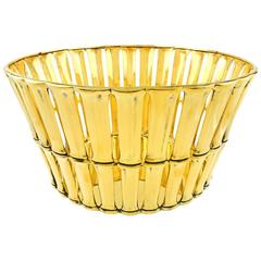Tiffany & Co. Gilded Sterling Bamboo Pattern Basket