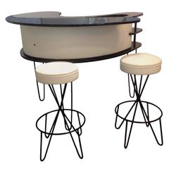 Paul Tuttle Lacquer Boomerang Bar and Two Swivel Bar Stools