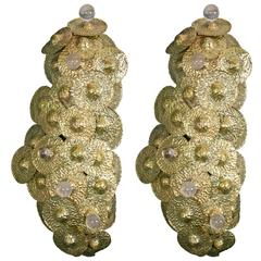 Pair of Brass and Rock Crystal Sconces