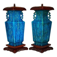 Chinese Turquoise Porcelain Lamps