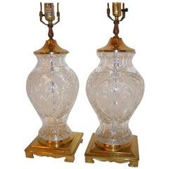 Pair of Vintage Cut Crystal Lamps