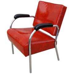 Tubular Chrome and Red Naugahyde 1940s Moderne Armchair