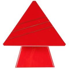 Vintage 1970s, Geometric Red Plastic Table Lamp