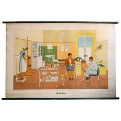 Set of Two German Charts, Children Visiting the Doctors Office, circa 1960