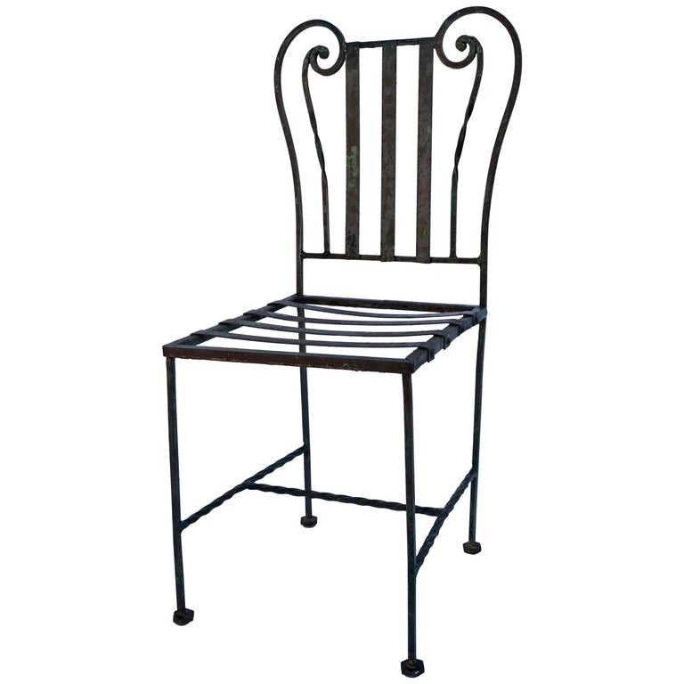 Lyre style wrought iron cafe chair for sale at 1stdibs for Wrought iron cafe chairs