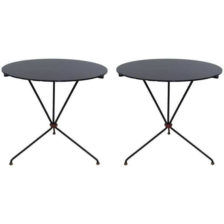 Pair of French Mid-Century Iron and Leather Banded Side Tables, Jacques Adnet
