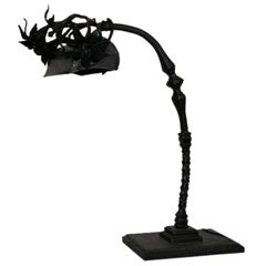 French Art Deco Handwrought Iron Table Lamp