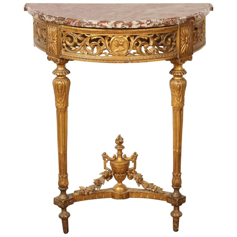 French Gilded Demilune Console