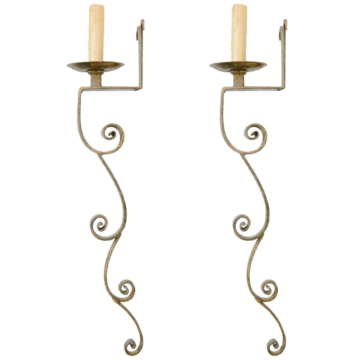Iron Wall Sconces Lighting : Pair of Single Light Gilt Iron Wall Sconce 33