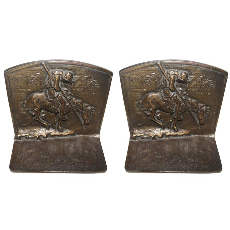 Pair of Bronze and Cast Iron End of the Run Indian Bookends