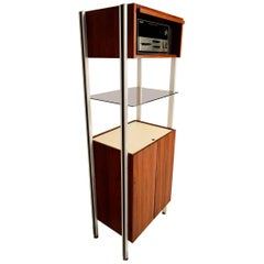 Midcentury Wall Unit Stereo Cabinet in Walnut and Aluminium, 1960s