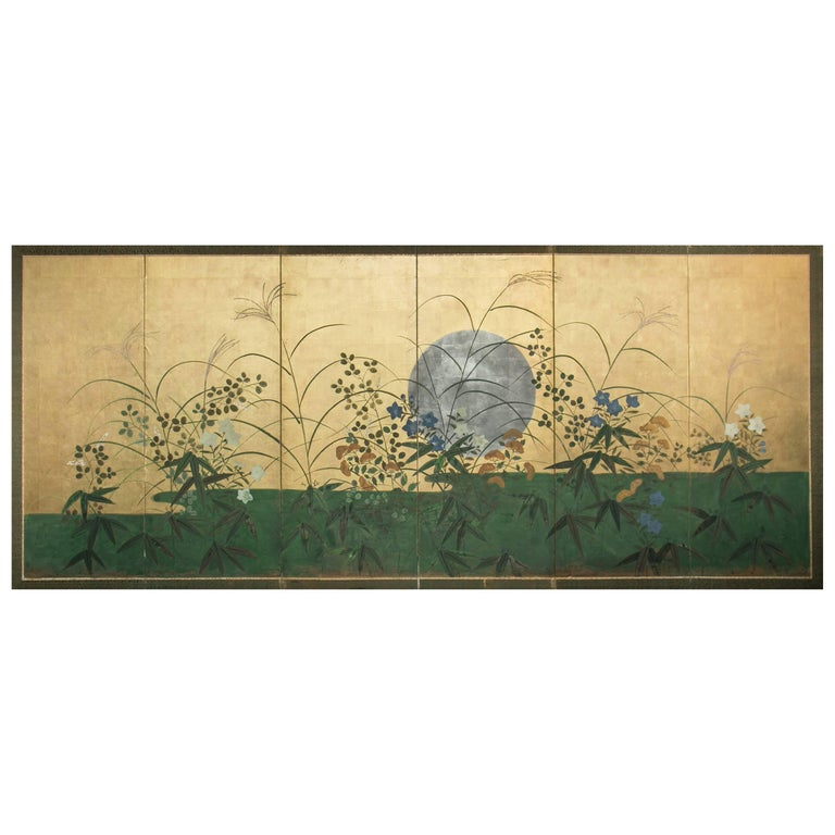 Japanese Six Panel Screen: Silver Moon Over Autumn Grasses For Sale