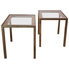 1970s Rattan and Brass and Rattan Side Tables
