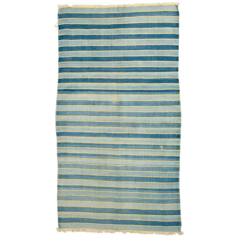 Indian Early 20th Century Indigo Cotton Dhurrie Rug