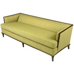 Sleek Mahogany Even-Arm Sofa in Sage Herringbone