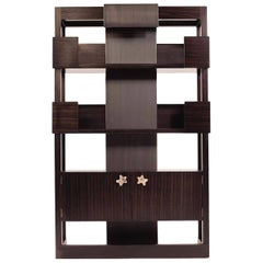 Contemporary Chester Bookcase or Shelving Unit in Oak or Walnut with Bronze
